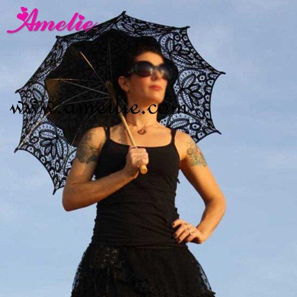 Бесплатная доставка, Продвижение готическая черная battenburg кружева parasols в наличии