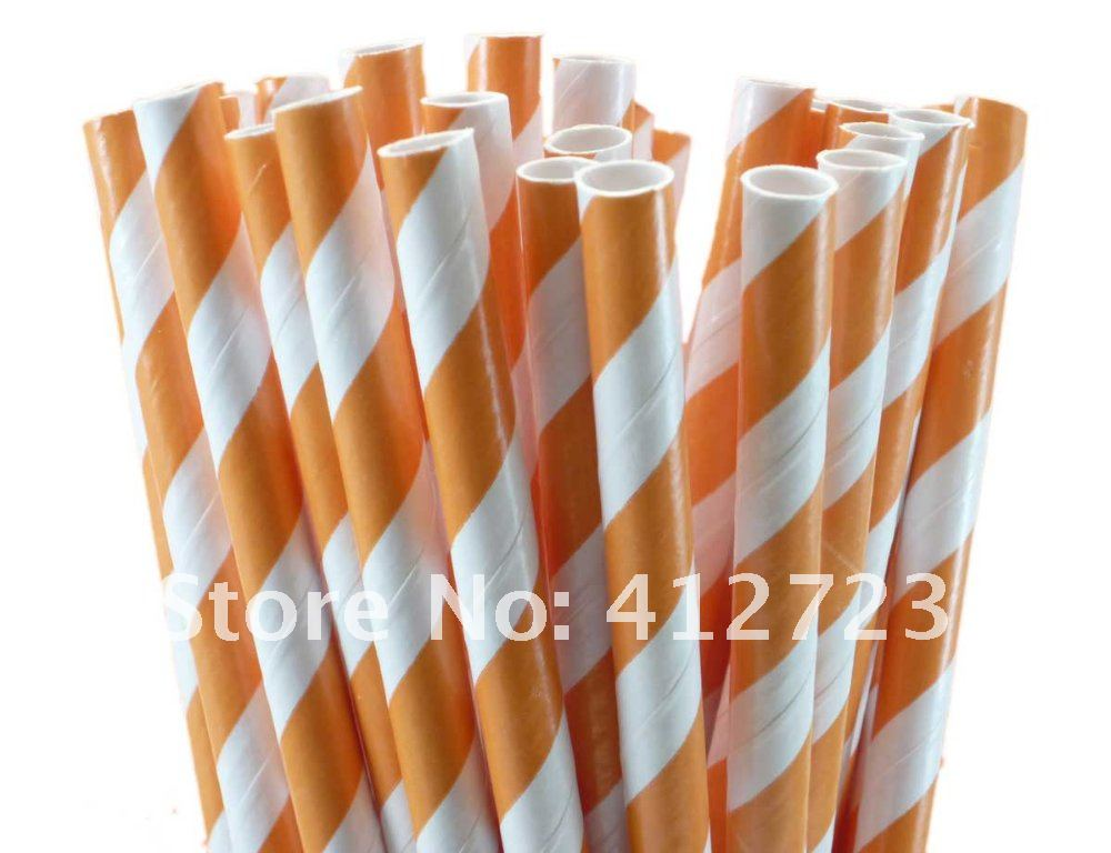 Paper Straws - Dark Orange Stripes.jpg
