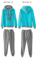 Женские толстовки и Кофты 2013 spring sweatshirt set sports casual wear female set hooded thickening long-sleeve women's