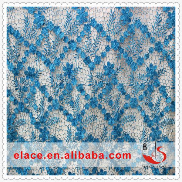 Charming wonderful bridal blue floral lace fabric