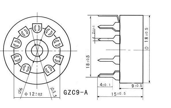 20pcs Ceramic tube socket tube holder GZC9-A small 9 pin outlet for 12AX7  EL84 6DJ8 6922