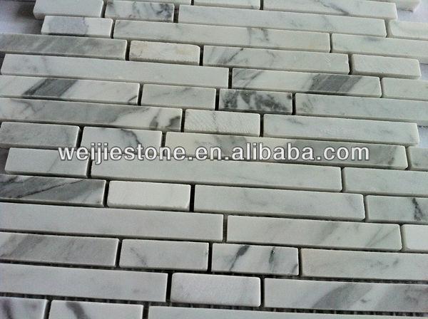 Marmo bianco di carrara mosaico striscia, adesivi murali ...