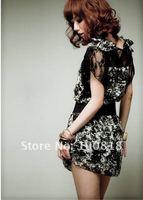 Черный шифон женщин летнее шифоновое платье #207