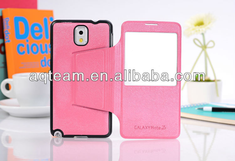 For Samsung Galaxy Note 3 N9000 with Stand View Window PU Leather Case