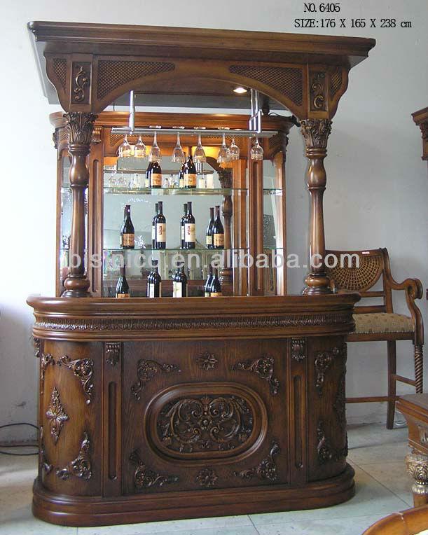 S lido cl sica de madera tallada a mano en casa barra de for Modelos de barras para bar en madera