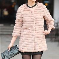 Женская одежда из меха Fur Women - Fashion black fur coat 3/4 sleeve long style 100% real rabbit fur jacket round neck