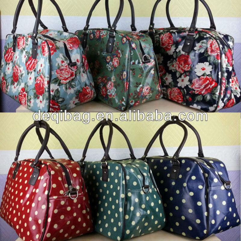 Ladies Oilcloth Flower/Owl/Polka Dot Holdall Weekend Travel Bag Hand Luggage