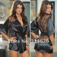 Женский халат New Sexy Black Satin Lace Lingerie Sleepwear Nightdress Robe