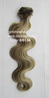 Blonde hair with clips,body wavy hair extension clip 0n full head synthetic hair extension,613#,55cm,130grams,1pc