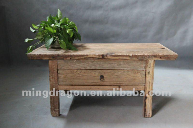 Chinois meubles anciens en bois de pin shanxi un tiroir - Petite table basse bois ...