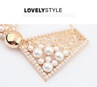 Цепочка с подвеской Magazine Hot! New style Retro bowknot with pearl necklaces Simulated collar necklaces N410
