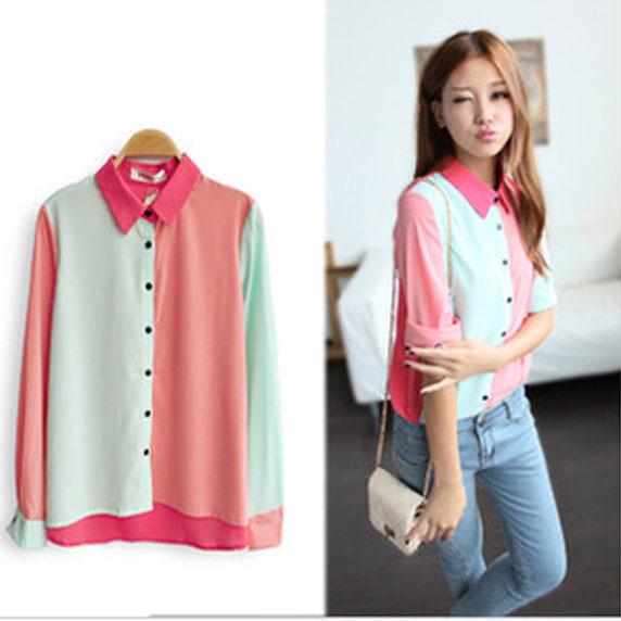 Блузка С Цветным Воротником
