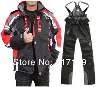 Orange Jacket Black Trousers Ski Suit Male Handsome Zipper Outdoor Waterproof Windproof Thermal Hiking Camping High Quality