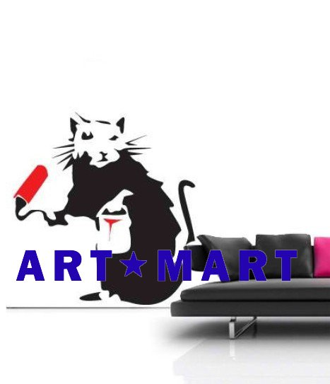 Painting Rat - Banksy Wall Stickers, Wall Mural, Wall Decal NO.448