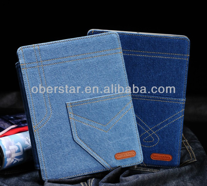hot jean protetive leather cover case for ipad mini/ manufacturer for ipadcover case