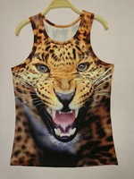 free shipping 2014 Women/Men Animal 3D Sleeveless Tanks Tops Tees tiger/cat 3d Vest Tanks Tops Tees