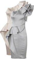 Платье знаменитостей knee long one shoulder popular new satin material cocktail dress