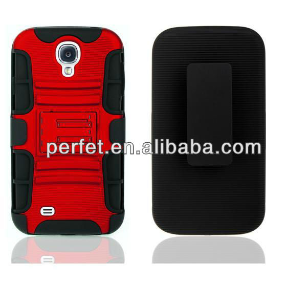 BLACK 3 in 1 RUGGED KICKSTAND HYBRID COVER WITH BELT CLIP HOLSTER COMBO CASE FOR Samsung Galaxy s4(PT-S4205)