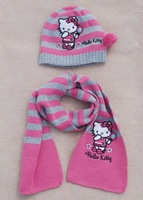 Шапка для мальчиков 9103 kids Knitted hats+ scarf children boys girls Cotton Caps sets, pink stripes fit 2-5yrs