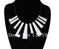 New products for 2012 Chirstmas black white metal statement choker collar bib vintage necklaces for women,free shipping