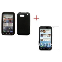 Free shipping 1pcs silicone GEL Skin Case cover & 1pcs crystal screen protector  for Motorola MB525 Defy mobile phone