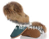 Женские ботинки 2012 snow boots fox fur cowhide women's shoes rabbit fur cow muscle outsole tassel Multicolor