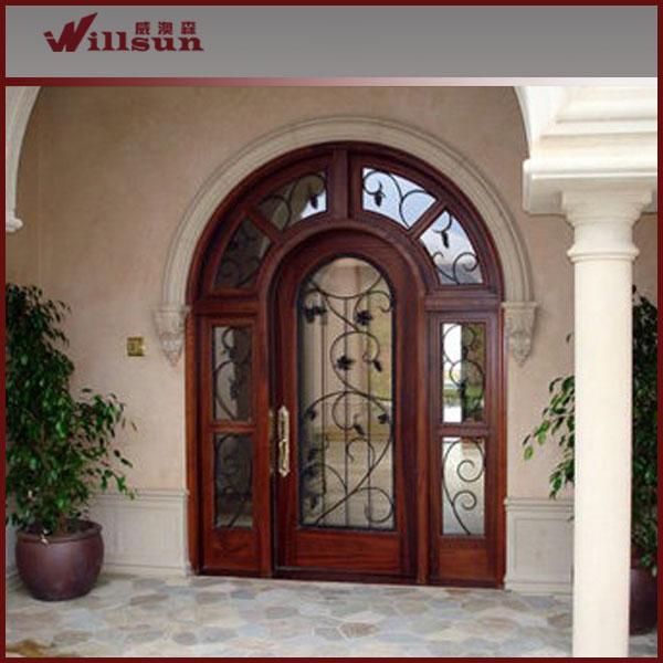 Entr e porte en fer forg verre et bois portes id de - Porte bois fer forge ...
