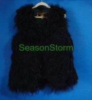 Женский жилет EMS ] High Quality Long Mongolian Lamb Fur Vest / 100% Sheep Fur Vest