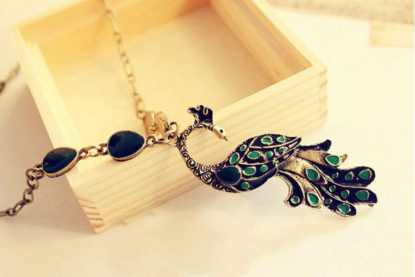 Min.order is $15 (mix order) New Vintage Style Enamel Peacock Necklace Charm Animal Pendant E0344191 G18