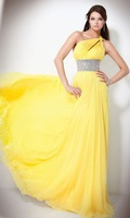 Платье на выпускной Custom Made A-line Chiffon One Shoulder Dress Beaded Asymetrical Empire Double Strap Prom Dresses