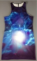 EAST KNITTING SP-014 Lady Multicolor Galaxy Cloud Universe Printed Vests/Tops Free Shipping Can Drop Shipping