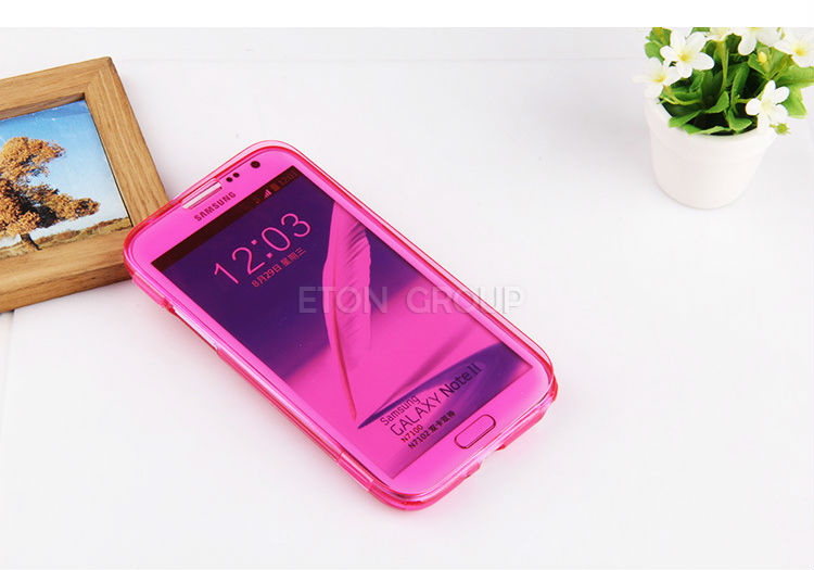 Wholesale Durable TPU Material Transparent Flip TPU Case cover for Samsung Galaxy note2 N7100 flip back cover