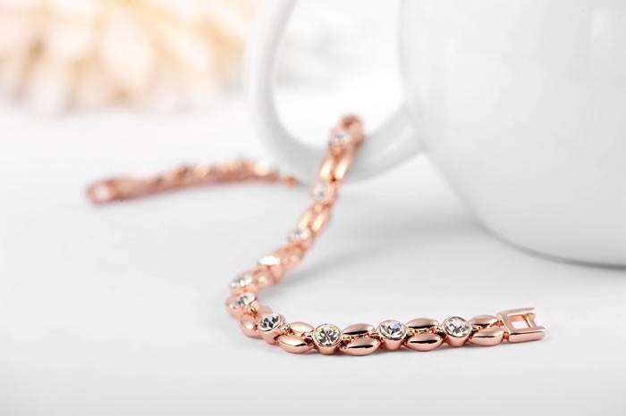 высокое качество розового золота покрытием инкрустация цирконом пшеницы образный браслет & Браслеты swa элемент австрийский хрусталь браслеты #2060802490