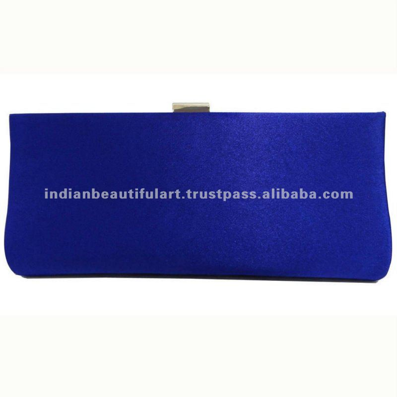 Royal Blue Satin Clutch Ladies Handbag Evening Party Brooch Purse Lady ...