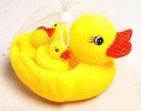 Розничная дети ванна игрушки Симпатичные резиновые утки мама и ребенок семьи ванна игрушки