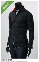Мужская повседневная рубашка New Mens Casual Slim Fit Stylish Dress Shirts Colours:Black Szie:XS, S, M, L #23