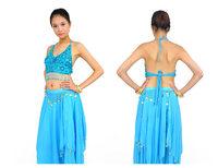 Новая продажа темно синий танец живота костюм пять цветок блесток бисером топ бюстгальтер кофточка