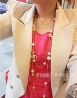 Колье-цепь Wholeasle gold color necelace! 2013 Fashion gold chain necklace Korea jewelry Pearl necklace N026