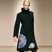 Женская куртка NEW! New listing! Desigual Women's Fashion long style black print Polka Dot Coat