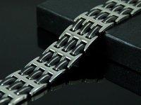 Рождественский подарок b673 8,26 «черный блестящий серебряный браслет нержавеющая сталь Браслет мужской подарок