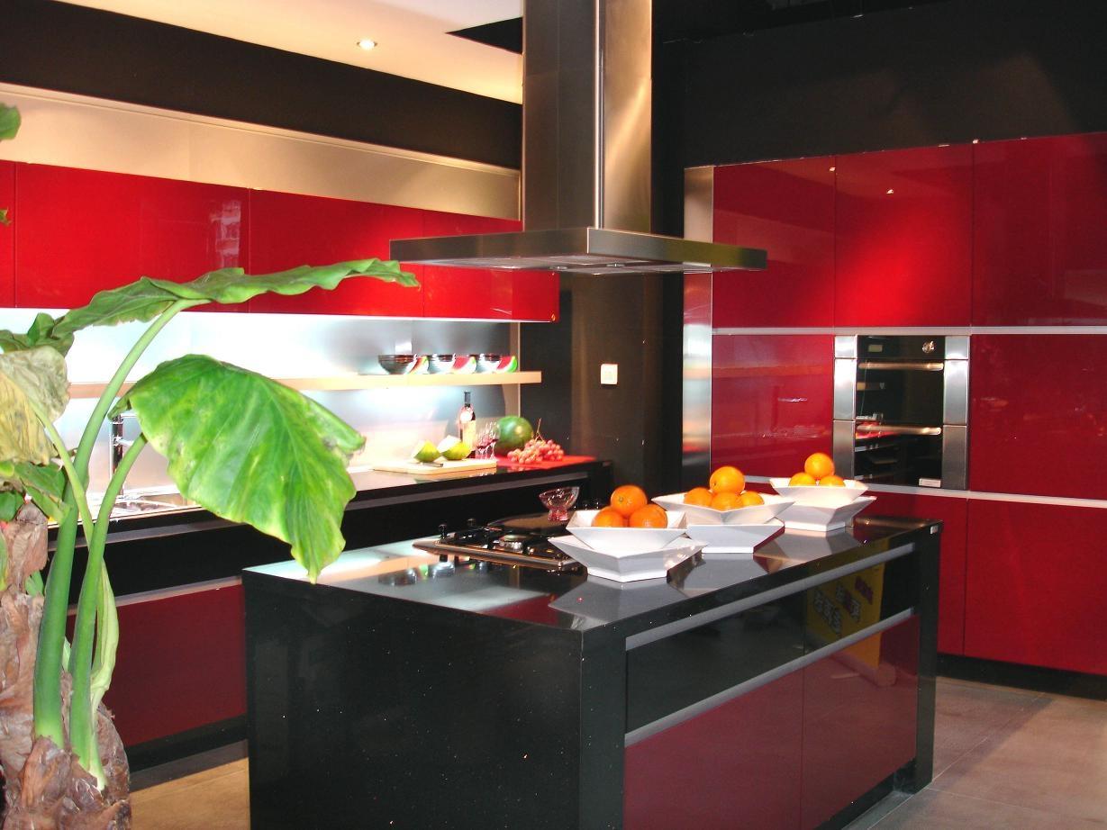 #B6151E Vermelho Laca Armários de Cozinha Armários de Cozinha Vermelho  1229x922 px Armario De Cozinha Compacto Vermelho #2013 imagens