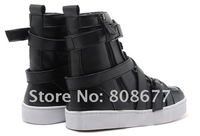 2012 Newest Style Classic Men Sneaker Fashion Casual Buckle Flats Shoes Red Bottom, High Cut Men Boots