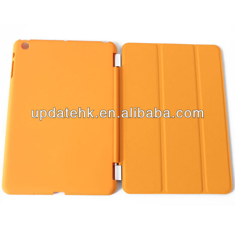 with sleep/wake function Tri-fold stand PU leather case cover for iPad mini