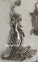 FREE SHIPPING 2PCS Tibetan silver beautiful woman charms A15299