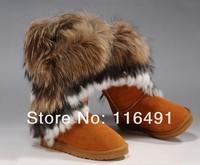 Женские ботинки 2012 snow boots fox fur cowhide women's shoes rabbit fur cow muscle outsole tassel Multicolor