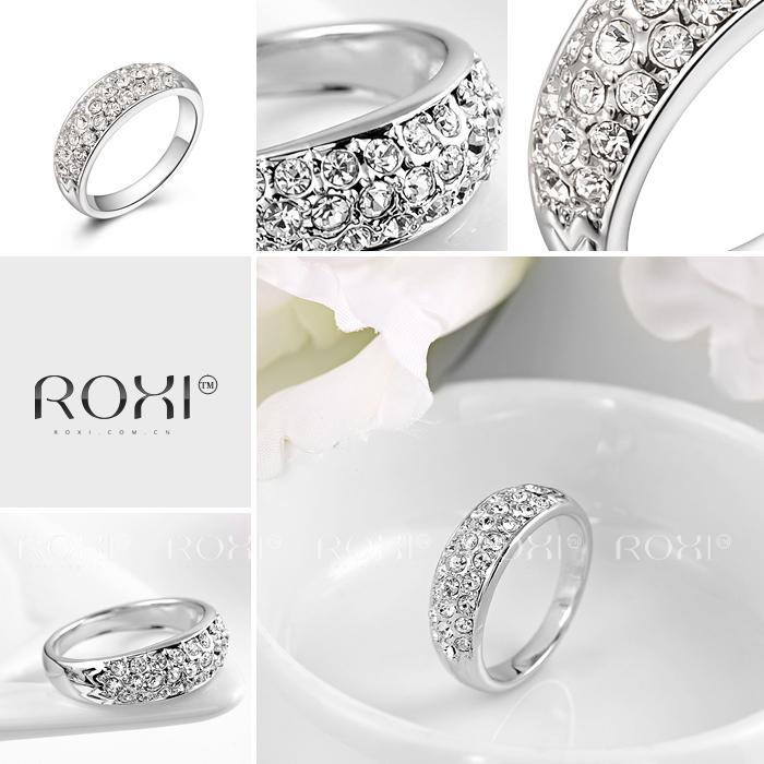 סיבוב נקי קריסטל 18K זהב /פלטינה מצופה טבעת תכשיטי אופנה עשה עם אמיתי האוסטרי גבישים בגודל מלא הסיטוניים
