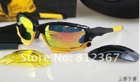 Free shipping Fashion Cycling Sunglass men's/women's Sports Jawbone Sunglass Black / Yellow Frame Fire Iridium lens yellow logo