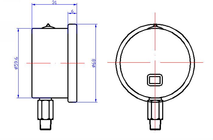السائل معبأ قياس الضغط ytn60a-60mm/ حالة الفولاذ المقاوم للصدأ/ اتصال النحاس