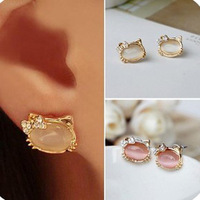 Серьги-гвоздики Fashion Bow cat hello kitty stud earring .! E100