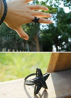 Кольцо R053 New alloy black five-pointed star finger rings, fashion ring 10982